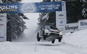 Картинка Белый, Снег, Спорт, Volkswagen, Sweden, WRC, Rally