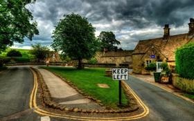 Обои velikobritaniya, boltton - abbey, архитектура., Англия, дома, дороги, поля