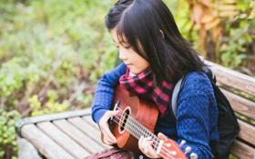 Обои музыка, гитара, девочка