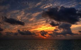 Обои море, небо, цвета, солнце, пейзаж, закат, природа