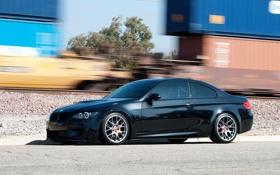 Картинка чёрный, bmw, бмв, железная дорога, wheels, диски, black