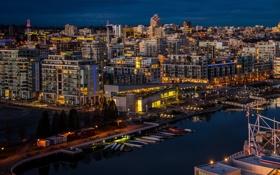 Картинка река, Канада, фото, причал, Ванкувер, ночь, город