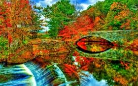 Обои дамба, осень, арка, деревья, небо, мост, река