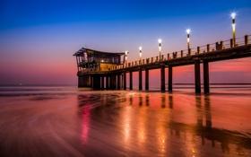 Обои lights, sea, ocean, sunset, pier