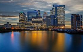 Картинка Canary Wharf, Кэнэри-Уорф, река, здания, вечер, Великобритания, England