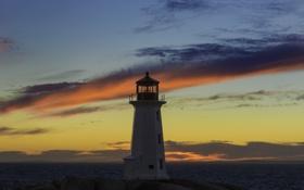 Обои море, небо, облака, закат, маяк, островок