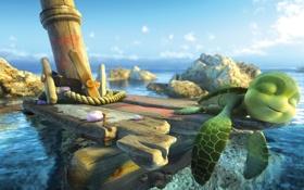 Картинка море, вода, океан, мультфильм, черепаха, шевели ластами