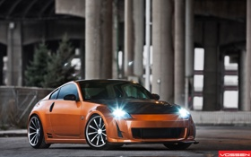 Обои оранжевый, фары, тюнинг, Nissan, ниссан, 350Z, orange