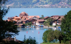 Обои Берн, пейзаж, деревья., озеро, Изельтвальд, Izeltvald, дома