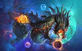 Обои космос, фантастика, дракон, планеты, чешуя, арт, пасть