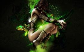 Картинка взгляд, девушка, обои, фэнтези, зелёный