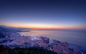 Картинка море, огни, побережье, Monaco