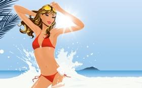 Обои море, пляж, девушка, купальник, солнце