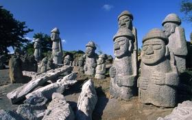 Обои лица, каменные, люди, фигуры