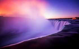 Обои природа, пейзаж, ниагарский водопад, рассвет, водопад