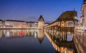 Обои ночь, огни, река, дома, Швейцария, Люцерн, мост Капельбрюкке