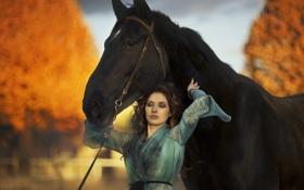 Обои девушка, конь, настроение
