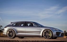 Картинка Concept, небо, Porsche, Panamera, автомобиль, вид сбоку, Sport Turismo