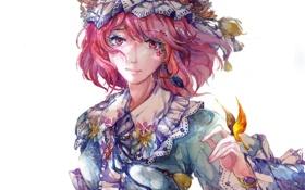 Картинка девушка, бабочки, цветы, арт, чепчик, touhou, saigyouji yuyuko