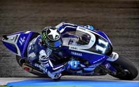 Картинка Спорт, Скорость, Поворот, Мотоцикл, Гонщик, Трасса, Yamaha