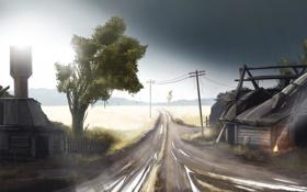 Картинка дорога, дом, башня, деревня, чернобыль, stalker, сталкер