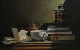 Картинка книги, чашка, полумрак, натюрморт, заварник