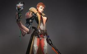 Картинка пистолет, Девушка, сабля, костюм, кибер-попугай, серый фон, протез