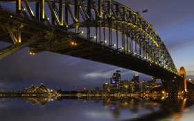 Обои ночь, мост, город, огни, сидней, австралия, Sydney