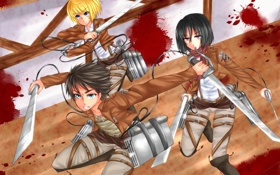 Картинка взгляд, девушка, город, оружие, злость, кровь, солдаты