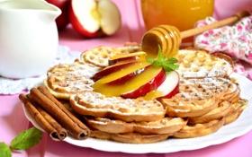 Обои яблоки, мед, корица, десерт, вафли
