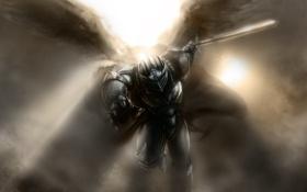 Обои крылья, ангел, меч, доспехи, воин, рыцарь