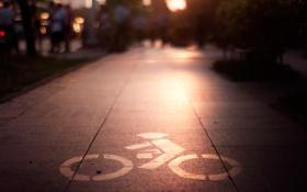 Обои свет, city, город, знак, light, велосипедист, sign