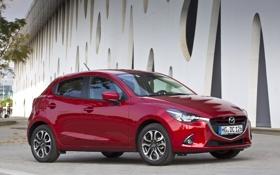 Обои фото, Mazda, Автомобиль, Бордовый, 2014, Металлик, Mazda 2