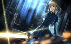 Картинка оружие, девушки, меч, свечи, храм, парень, отблеск