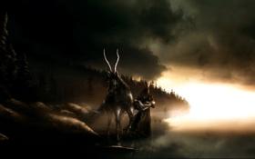 Обои рога, мужик, девушка, тучи, конь, мрак