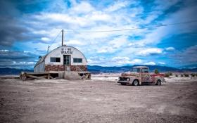 Обои авто, фон, пустыня, старый