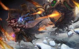 Обои лед, девушка, снег, оружие, монстр, битва, league of legends