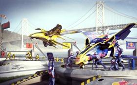 Картинка мост, люди, соревнования, корабли, арт, самолеты, red bull
