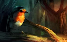 Картинка свет, дерево, птица, ветка, арт