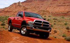 Обои машина, авто, красный, додж, dodge, ram, рэм