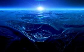 Обои пластика, планета, Ocean of Mountains, солнце