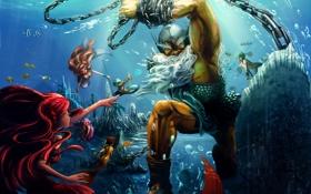Картинка русалки, под водой, посейдон, цепи