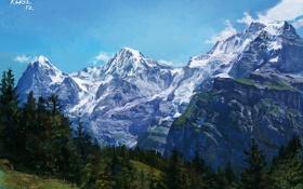 Обои лес, пейзаж, холмы, природа, арт, горы