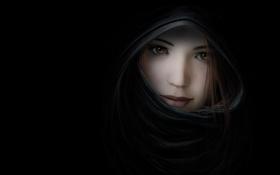 Картинка art, темнота, лицо, рисунок, платок