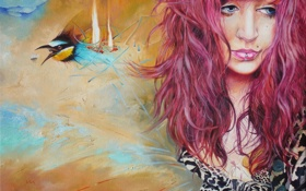 Картинка девушка, птица, портрет, пирсинг, Wlodzimierz Kuklinski