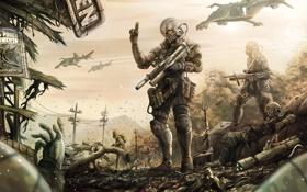 Обои обломки, оружие, дым, тела, Солдаты, броня, летательные аппараты
