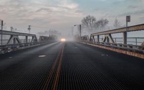 Картинка свет, мост, туман, автомобиль, Нью-Джерси
