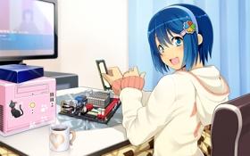 Картинка Девушка, Компьютер, Аниме, Windows 7, OS-tan, Маскот, Сборка
