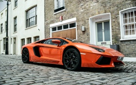 Обои Lamborghini, london, orange, LP700-4, aventador