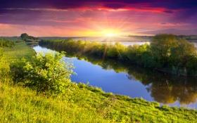 Картинка закат, nature, трава, река, солнце, landscape, деревья